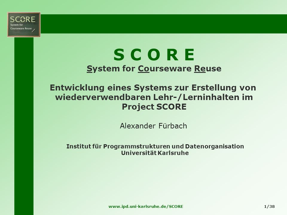 S C O R E System for Courseware Reuse