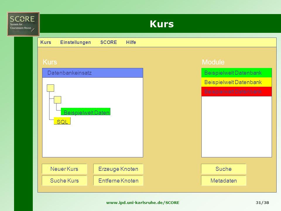Kurs Kurs Module Datenbankeinsatz Beispielwelt Datenbank