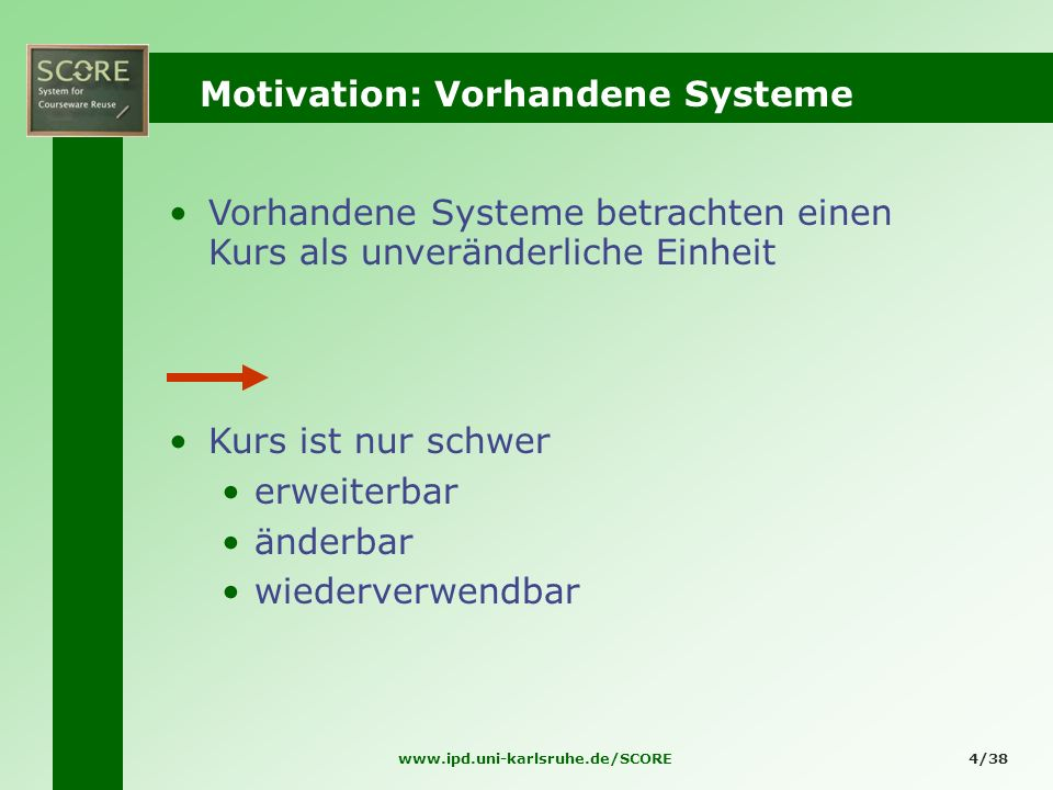 Motivation: Vorhandene Systeme