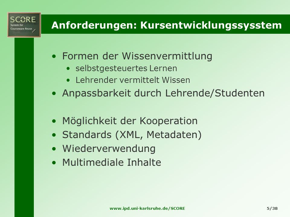 Anforderungen: Kursentwicklungssysstem