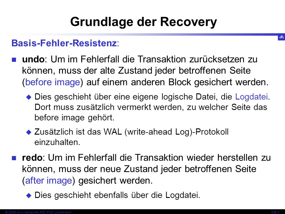 Grundlage der Recovery
