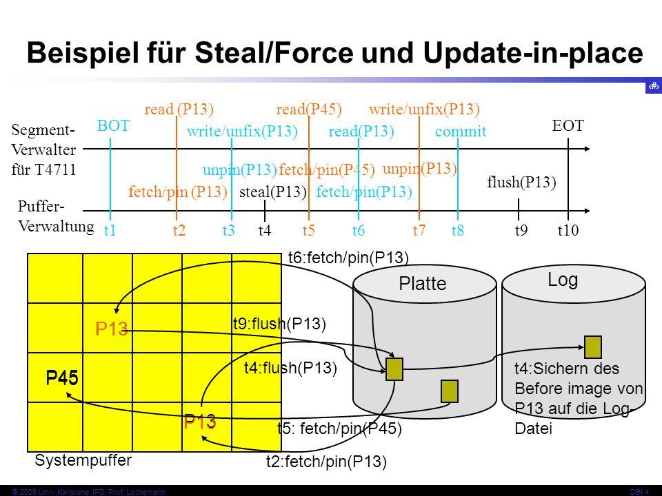 Beispiel für Steal/Force und Update-in-place