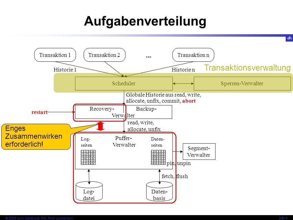 Aufgabenverteilung Transaktionsverwaltung ...