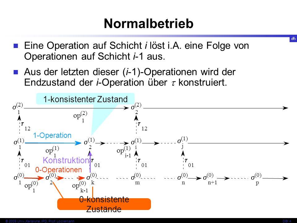 Normalbetrieb Eine Operation auf Schicht i löst i.A. eine Folge von Operationen auf Schicht i-1 aus.