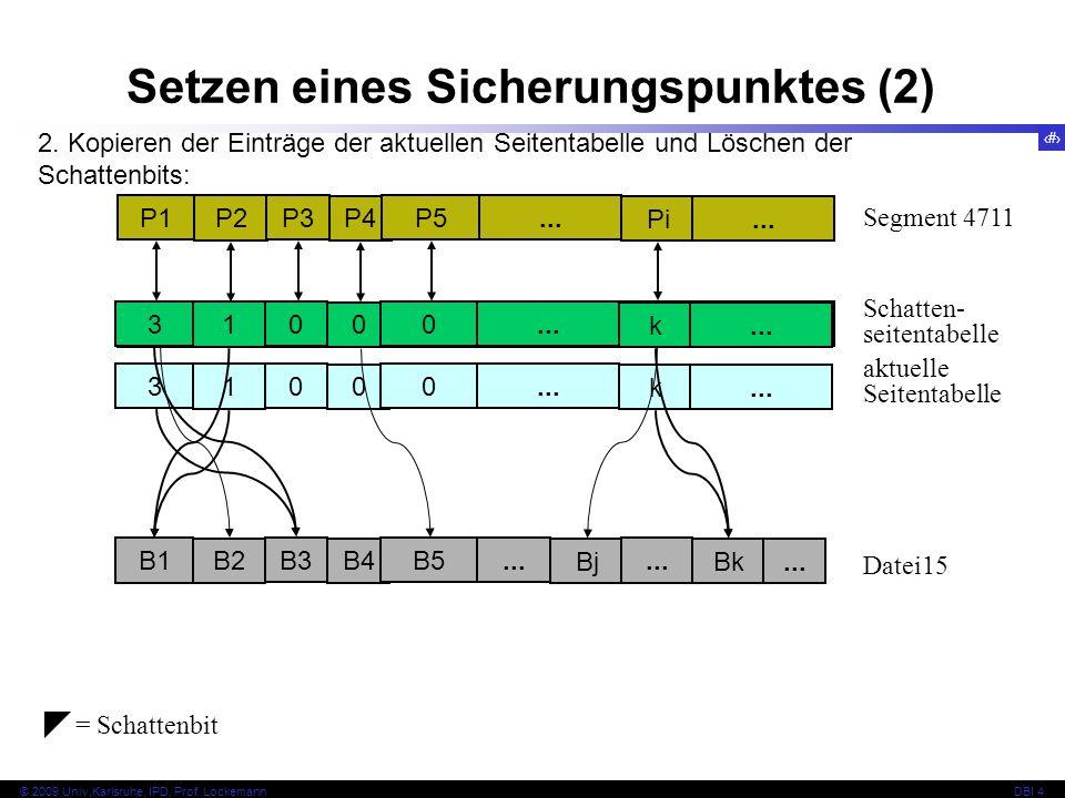 Setzen eines Sicherungspunktes (2)