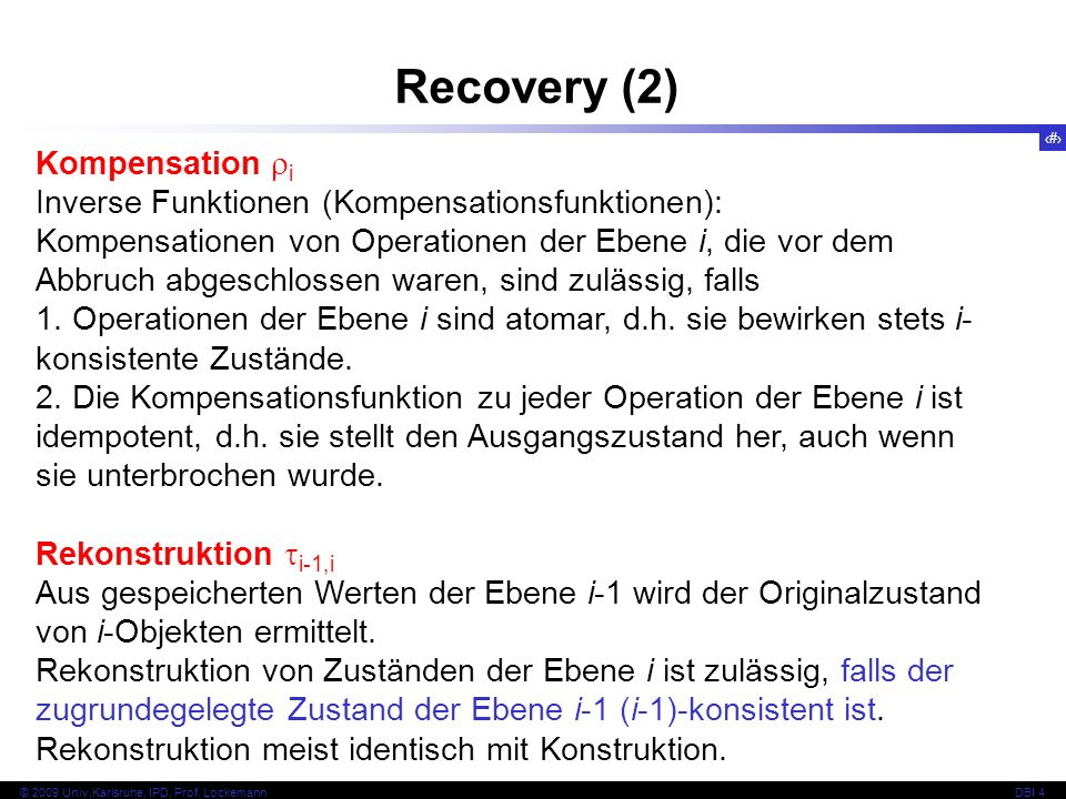 Recovery (2) Kompensation i