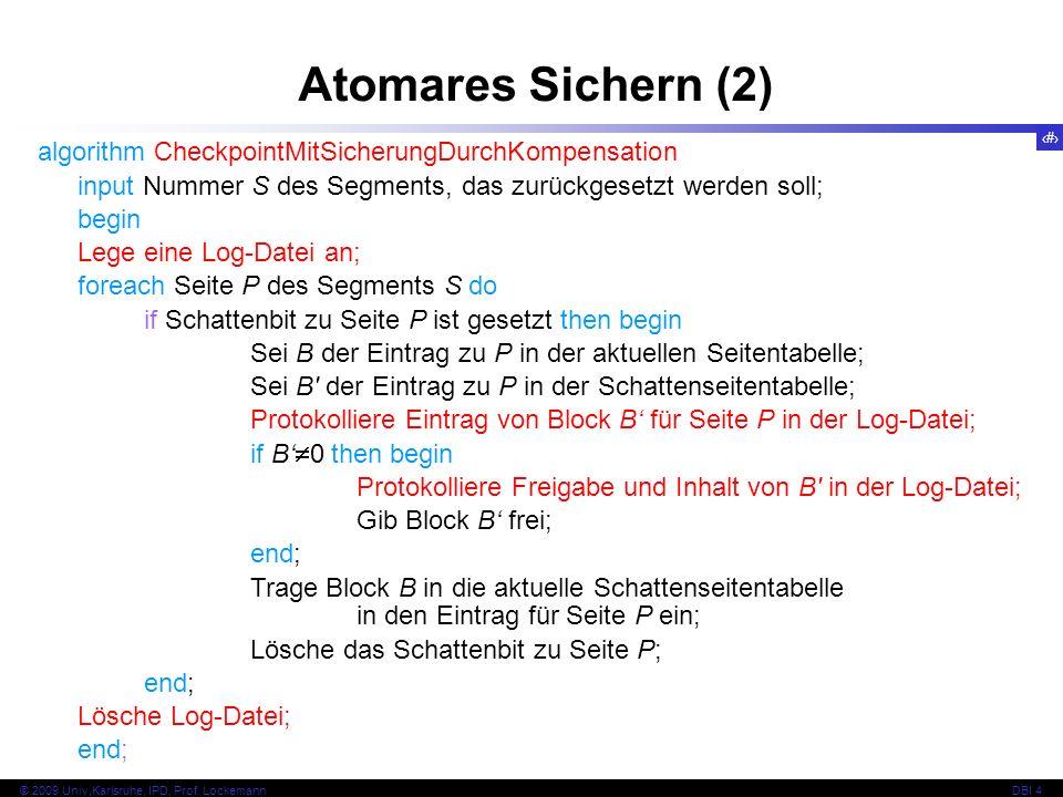 Atomares Sichern (2) algorithm CheckpointMitSicherungDurchKompensation