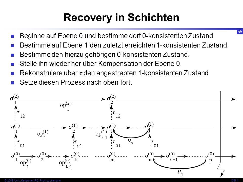 Recovery in Schichten Beginne auf Ebene 0 und bestimme dort 0-konsistenten Zustand.