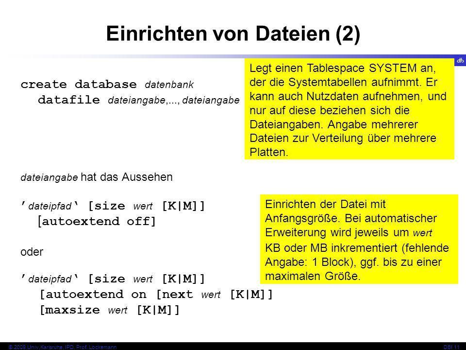 Einrichten von Dateien (2)