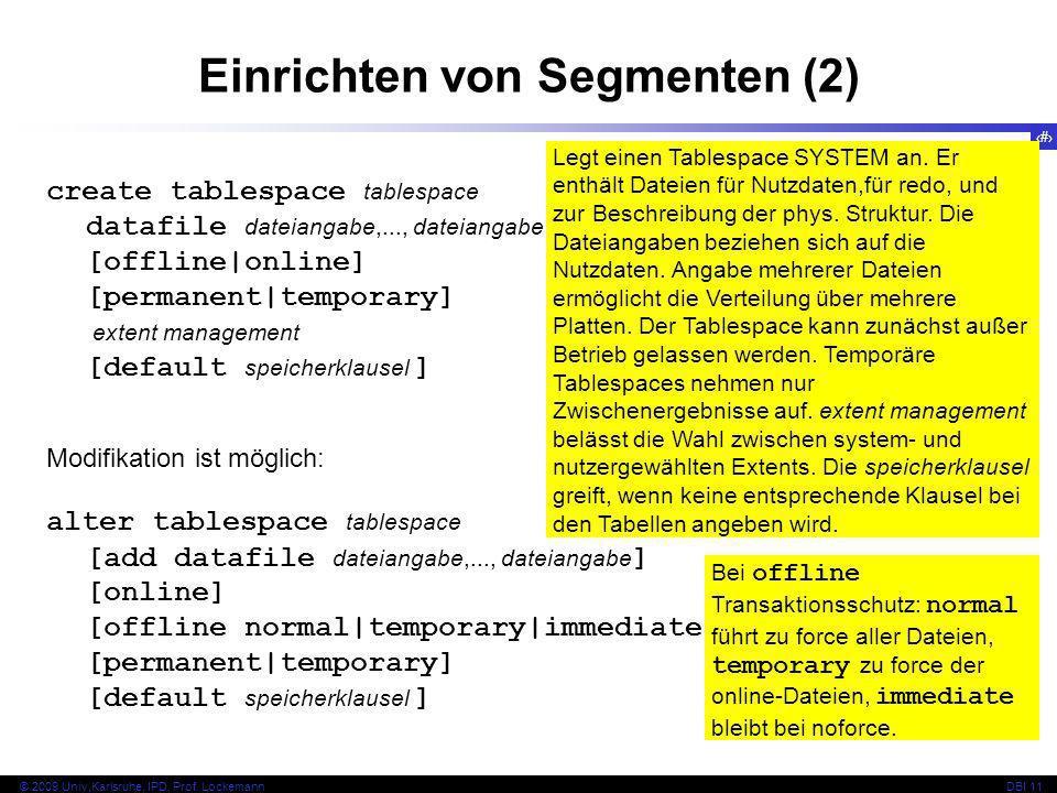 Einrichten von Segmenten (2)
