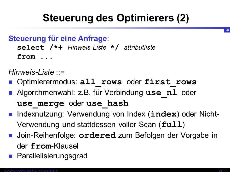 Steuerung des Optimierers (2)