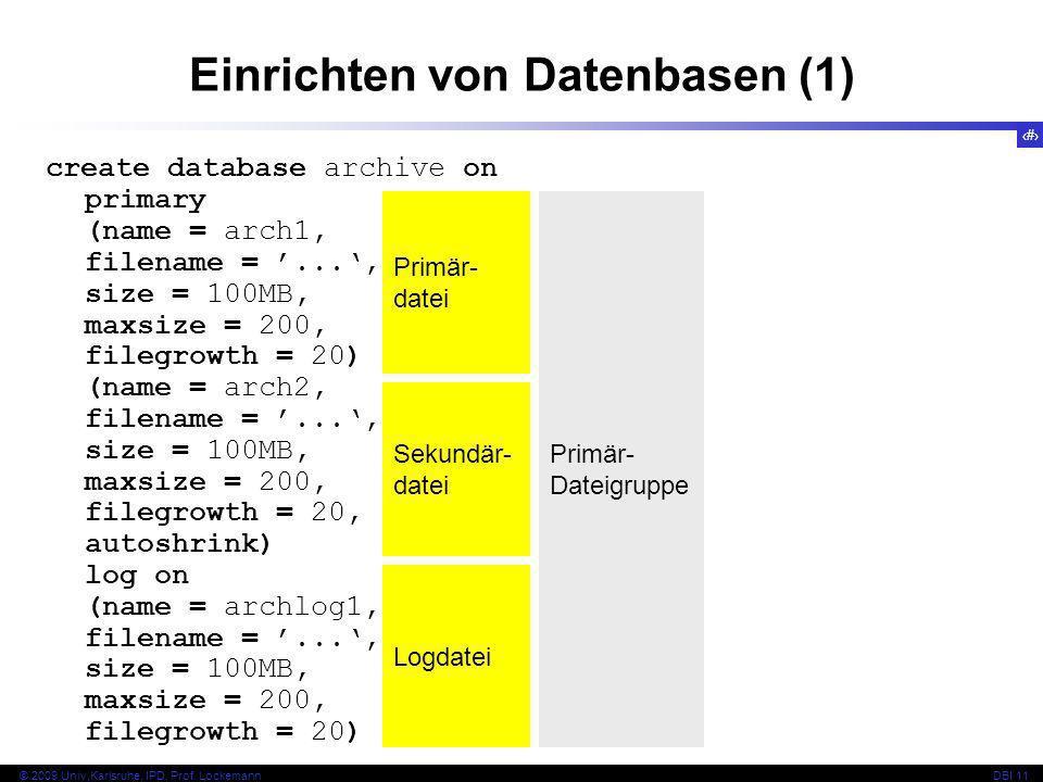 Einrichten von Datenbasen (1)