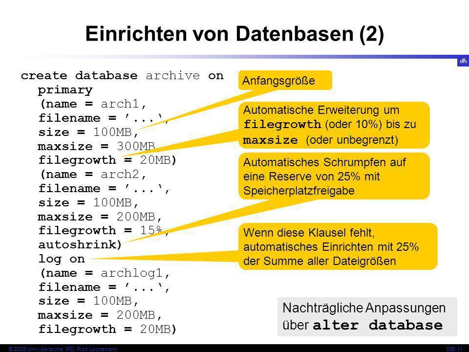 Einrichten von Datenbasen (2)