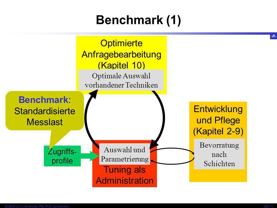 Benchmark (1) Optimierte Anfragebearbeitung (Kapitel 10) Benchmark:
