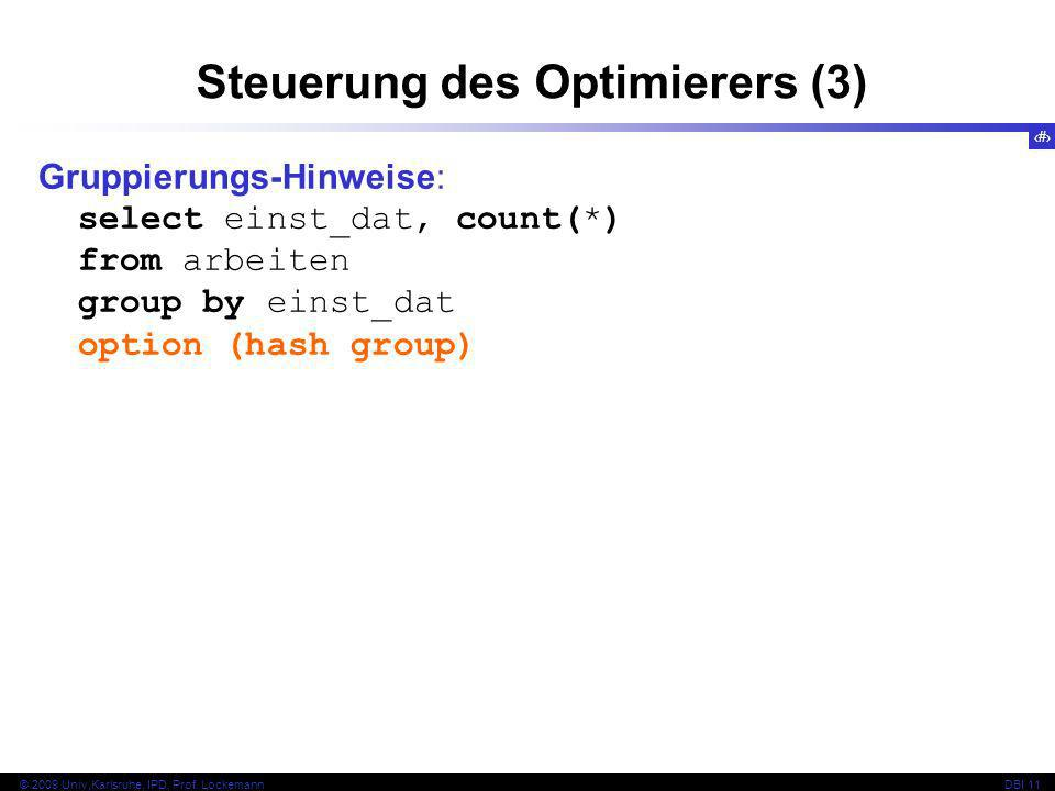 Steuerung des Optimierers (3)