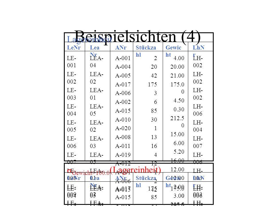 Beispielsichten (4) Lagereinheit sGewicht>100.0(Lagereinheit) LeNr
