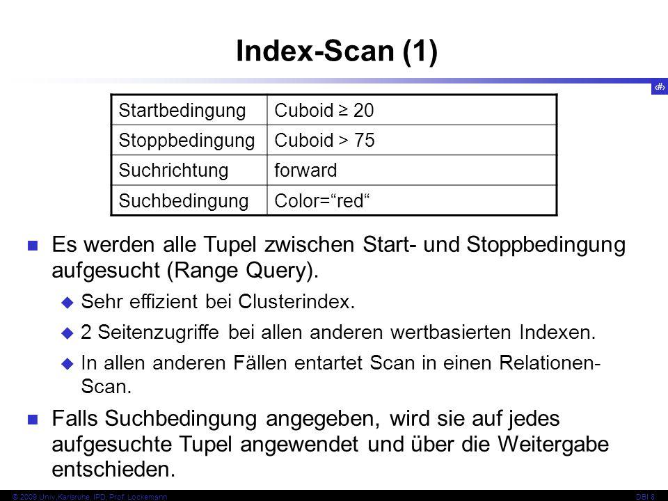 Index-Scan (1) Startbedingung. Cuboid ≥ 20. Stoppbedingung. Cuboid > 75. Suchrichtung. forward.