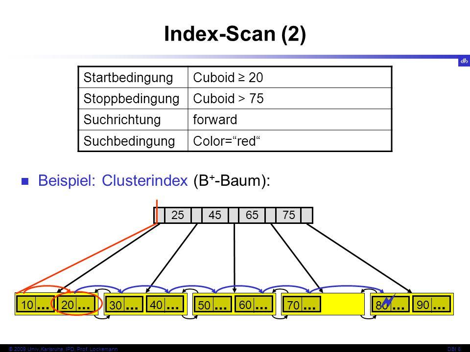 Index-Scan (2)  Beispiel: Clusterindex (B+-Baum): Startbedingung