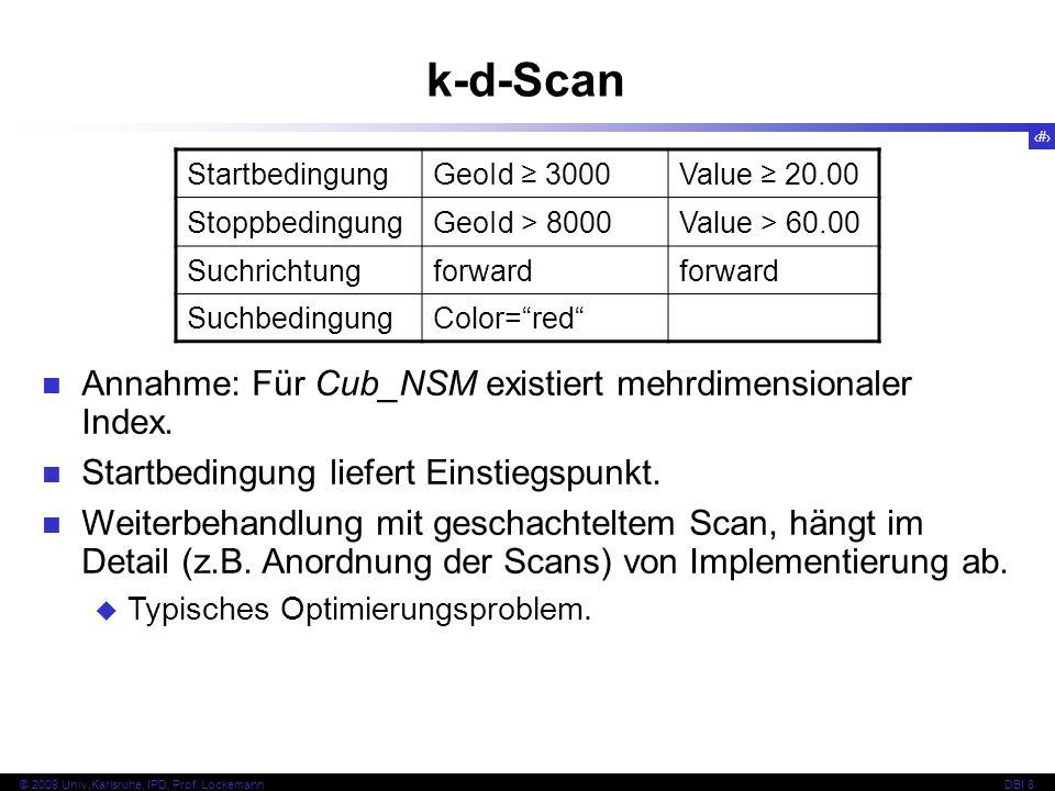 k-d-Scan Annahme: Für Cub_NSM existiert mehrdimensionaler Index.