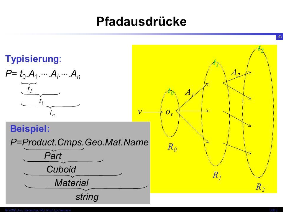 Pfadausdrücke t2 Typisierung: t1 P= t0.A1..Ai..An A2 t0 A1 v ov