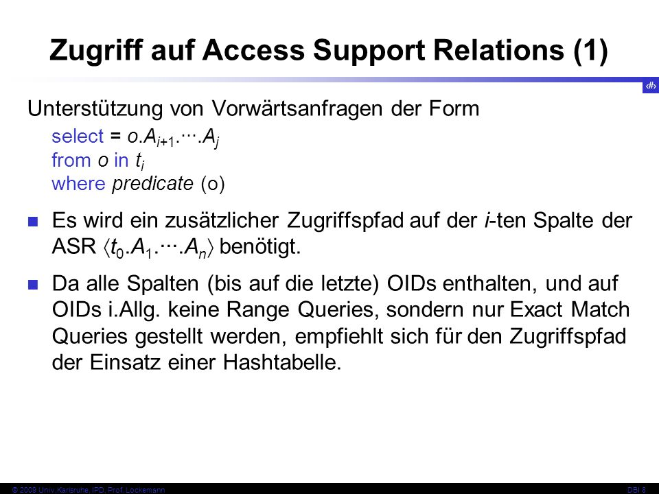 Zugriff auf Access Support Relations (1)