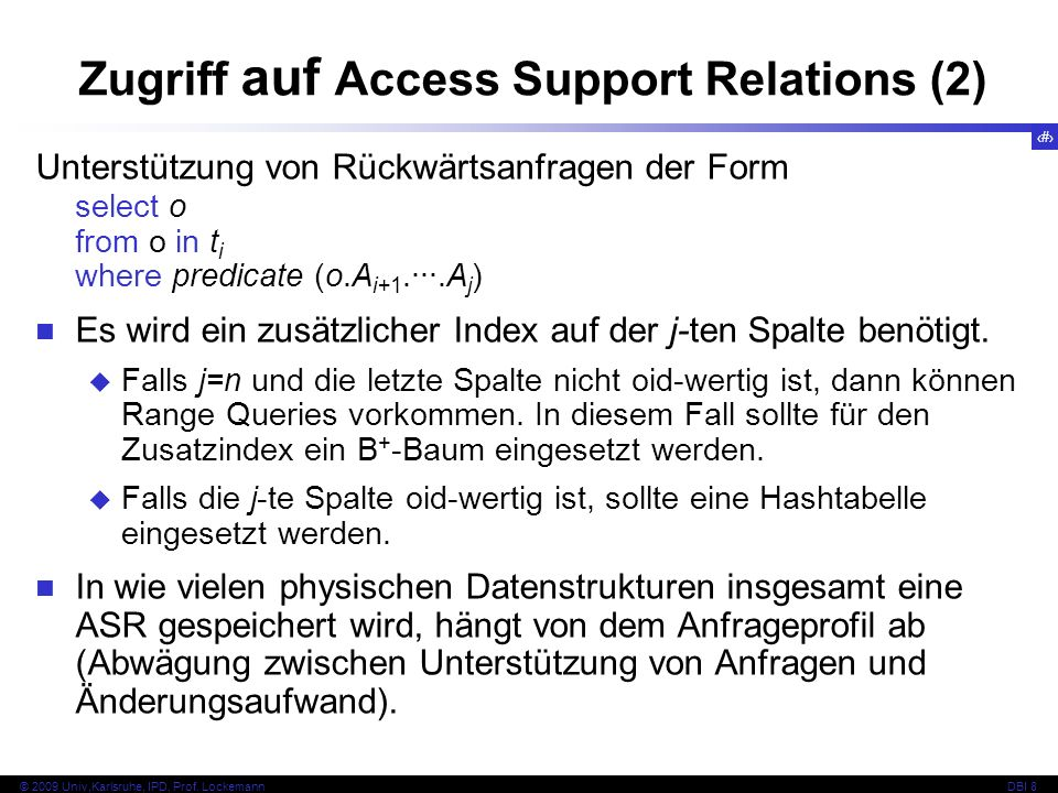 Zugriff auf Access Support Relations (2)