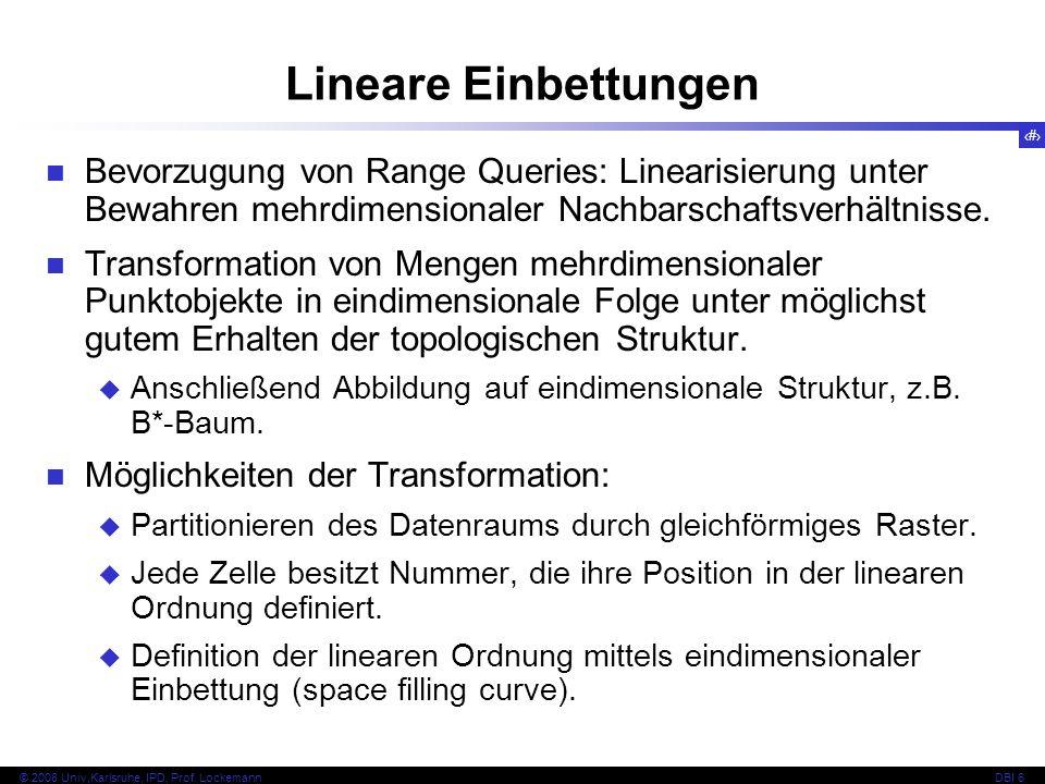 Lineare Einbettungen Bevorzugung von Range Queries: Linearisierung unter Bewahren mehrdimensionaler Nachbarschaftsverhältnisse.