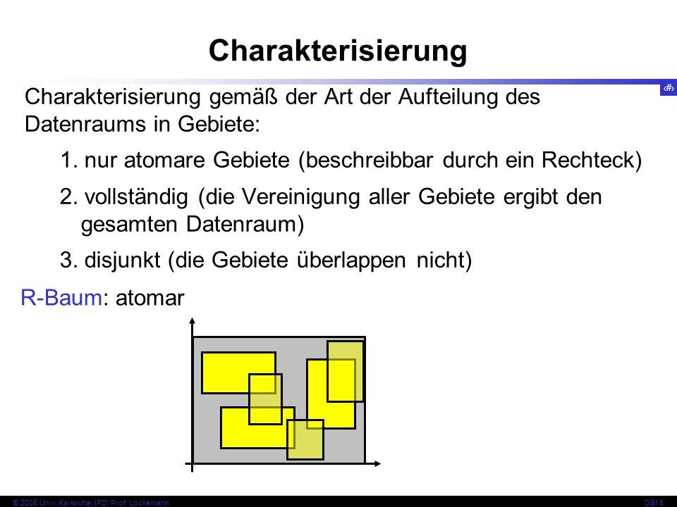 Charakterisierung Charakterisierung gemäß der Art der Aufteilung des Datenraums in Gebiete: 1. nur atomare Gebiete (beschreibbar durch ein Rechteck)