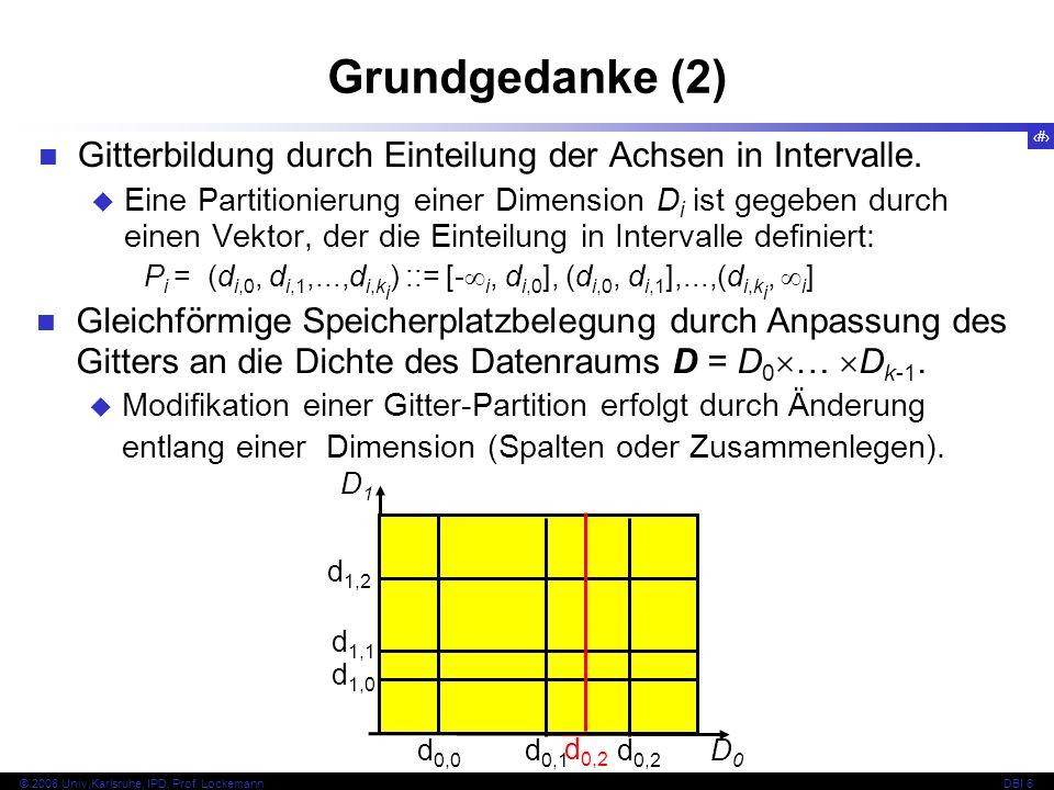 Grundgedanke (2) Gitterbildung durch Einteilung der Achsen in Intervalle.