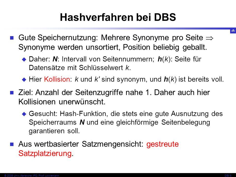 Hashverfahren bei DBS Gute Speichernutzung: Mehrere Synonyme pro Seite  Synonyme werden unsortiert, Position beliebig geballt.