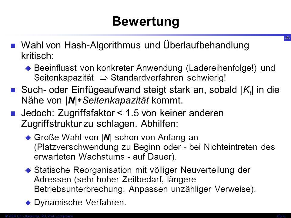 Bewertung Wahl von Hash-Algorithmus und Überlaufbehandlung kritisch: