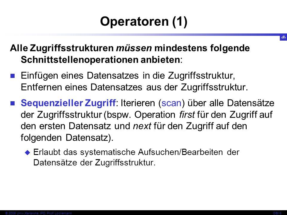 Operatoren (1) Alle Zugriffsstrukturen müssen mindestens folgende Schnittstellenoperationen anbieten: