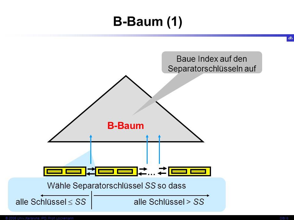 B-Baum (1) B-Baum Baue Index auf den Separatorschlüsseln auf …