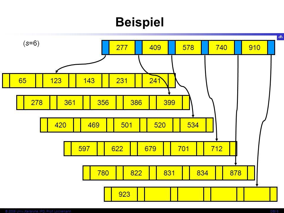 Beispiel (s=6) 277. 409. 578. 740. 910. 65. 123. 143. 231. 241. 278. 361. 356. 386. 399.