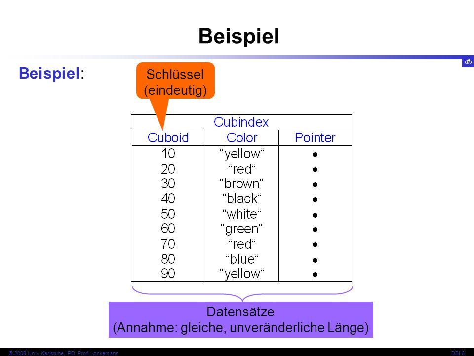 Beispiel Beispiel: Schlüssel (eindeutig) Datensätze