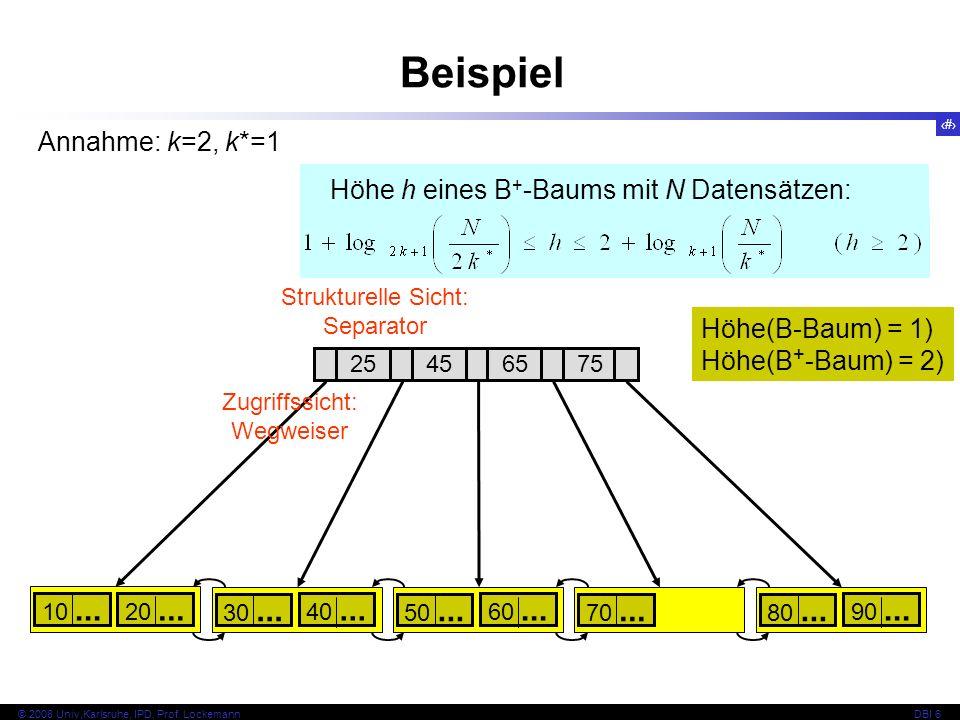 Beispiel Annahme: k=2, k*=1 Höhe h eines B+-Baums mit N Datensätzen: