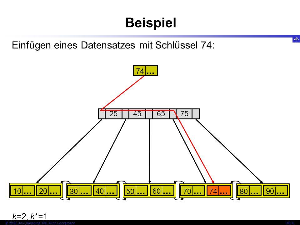 Beispiel Einfügen eines Datensatzes mit Schlüssel 74: k=2, k*=1 74 ...