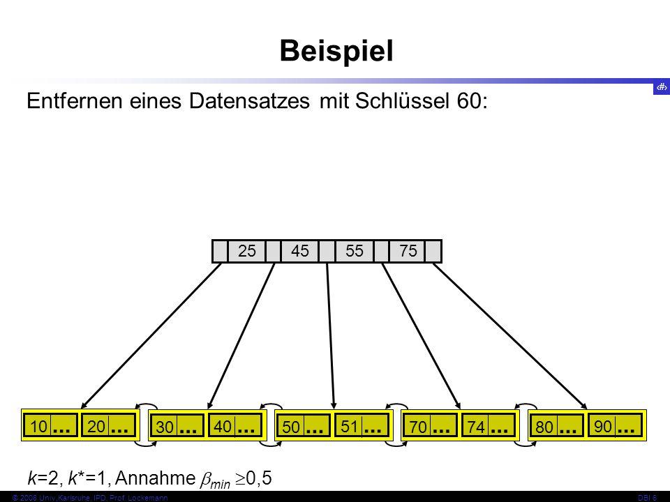 Beispiel Entfernen eines Datensatzes mit Schlüssel 60: