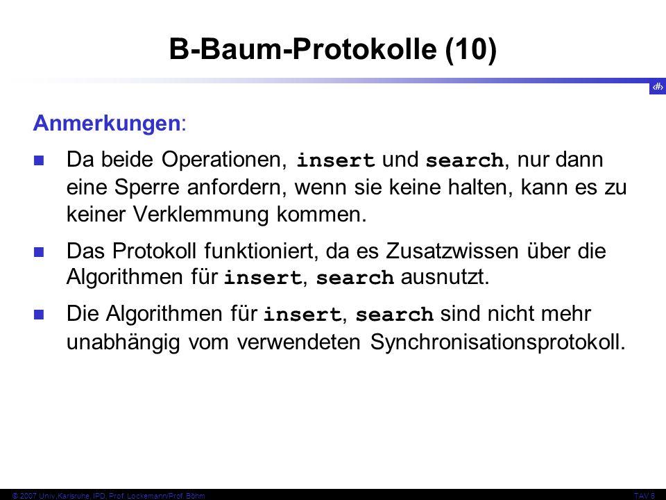 B-Baum-Protokolle (10) Anmerkungen: