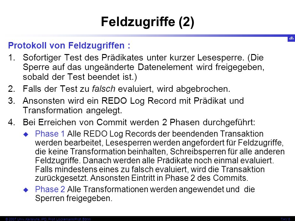 Feldzugriffe (2) Protokoll von Feldzugriffen :