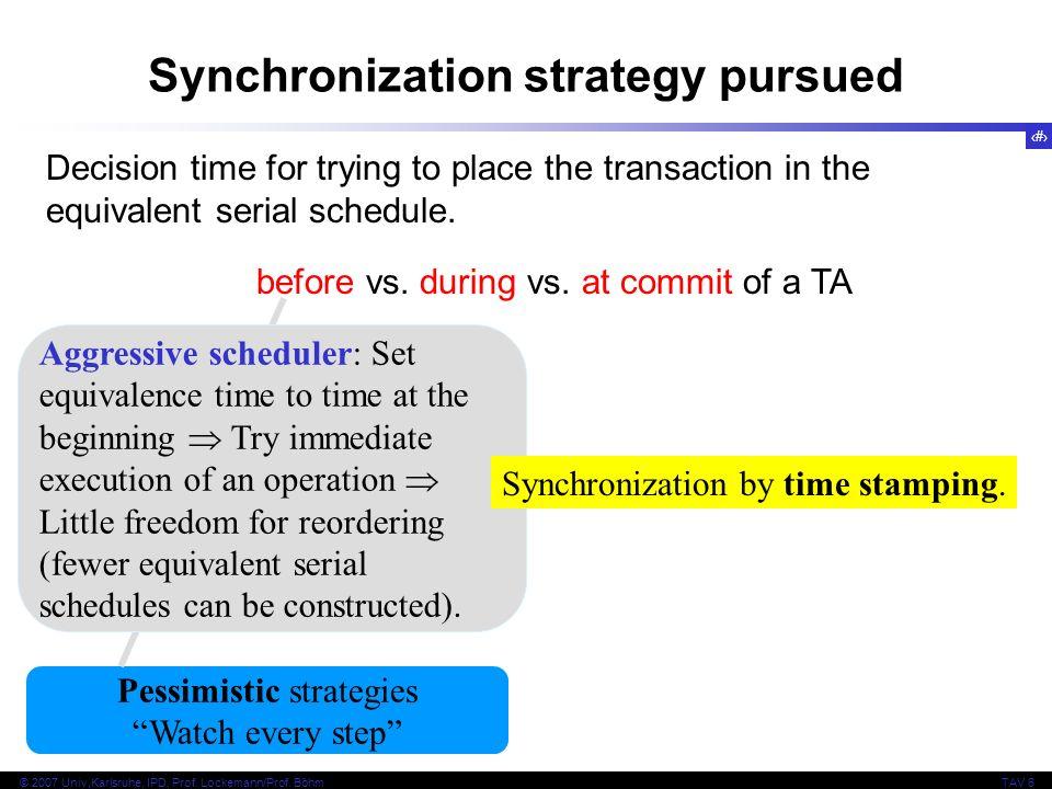 Synchronization strategy pursued