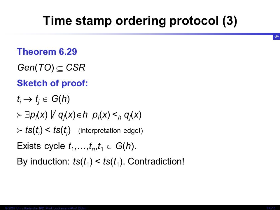 Time stamp ordering protocol (3)