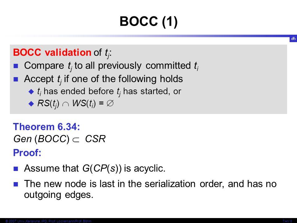 BOCC (1) BOCC validation of tj: