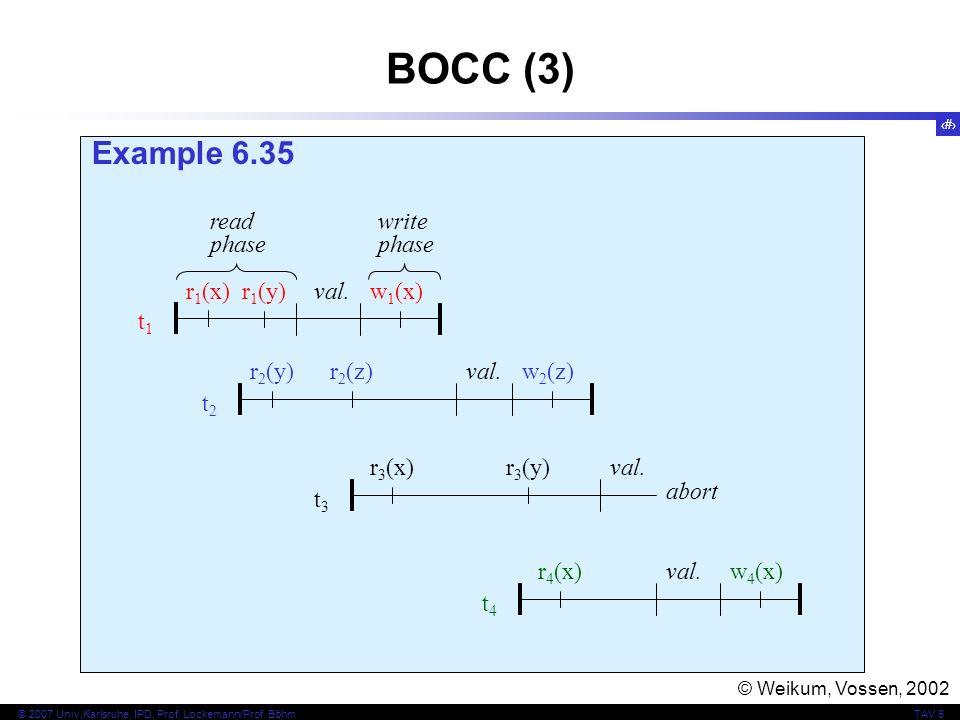 BOCC (3) Example 6.35 t1 r1(x) r1(y) w1(x) read phase write val. t2