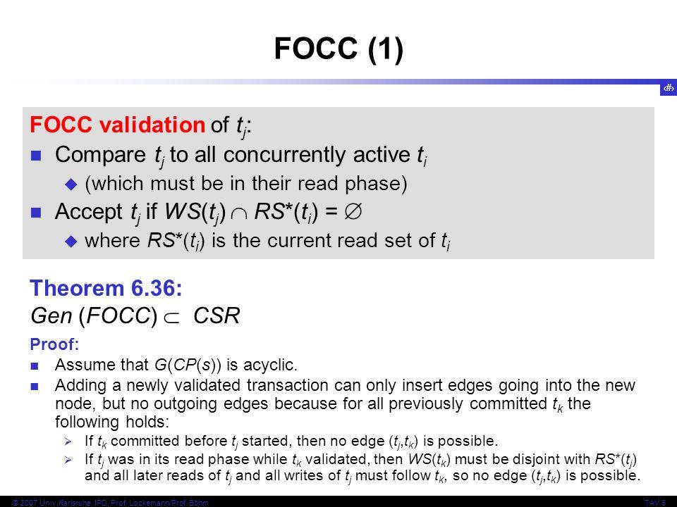 FOCC (1) FOCC validation of tj:
