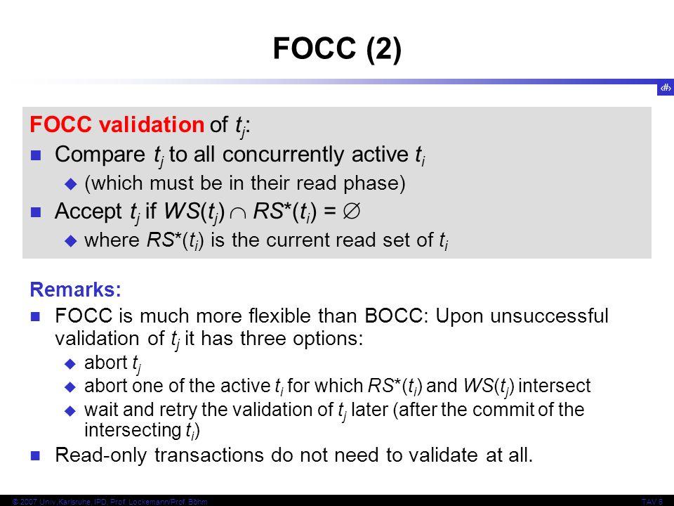 FOCC (2) FOCC validation of tj: