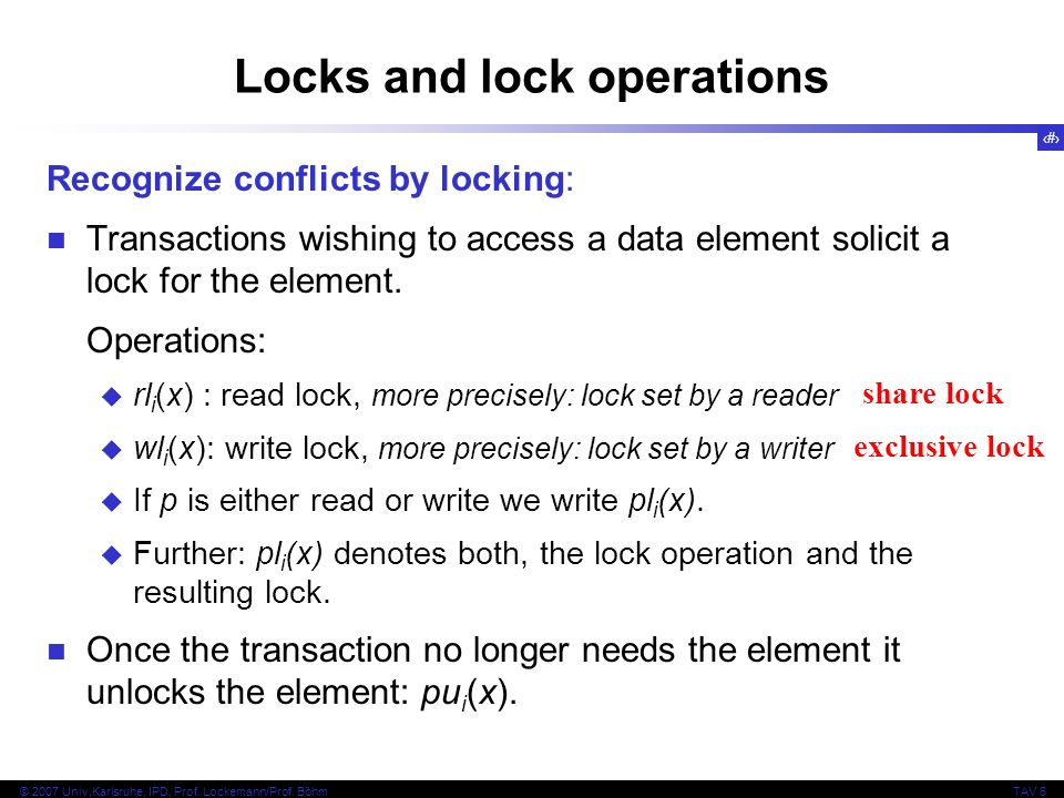 Locks and lock operations