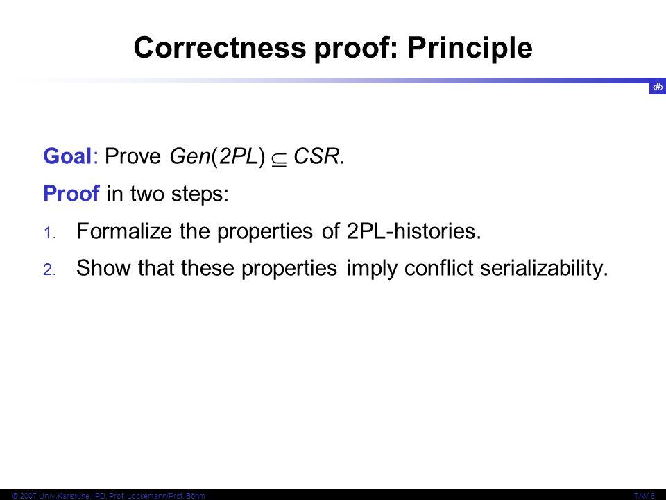 Correctness proof: Principle