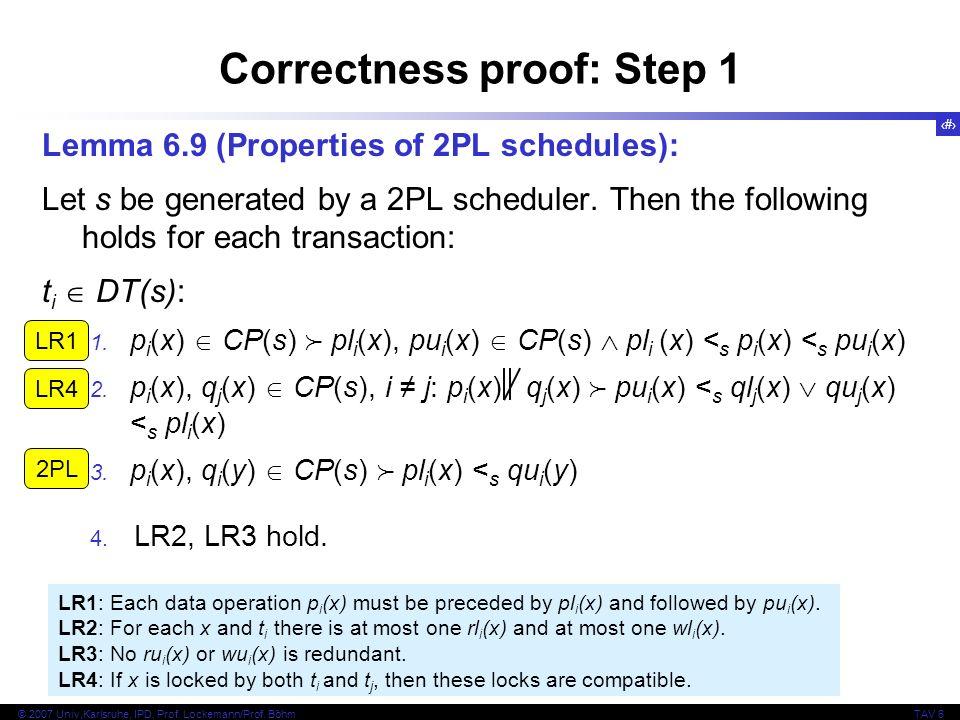Correctness proof: Step 1