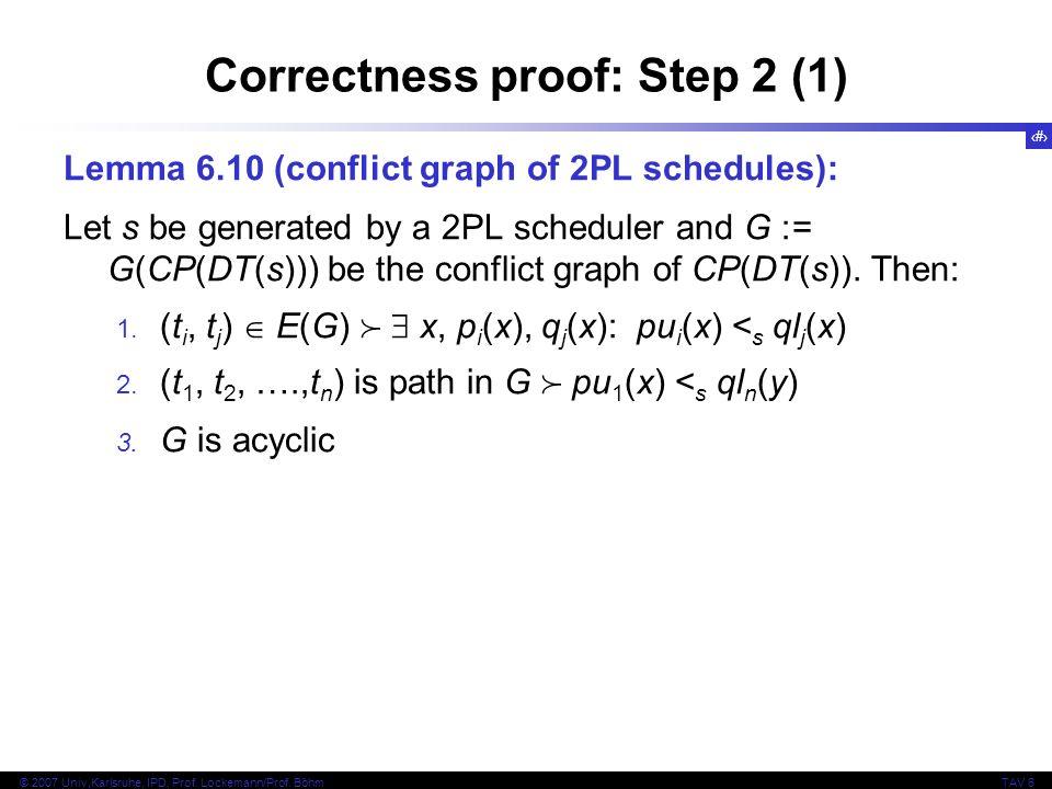 Correctness proof: Step 2 (1)